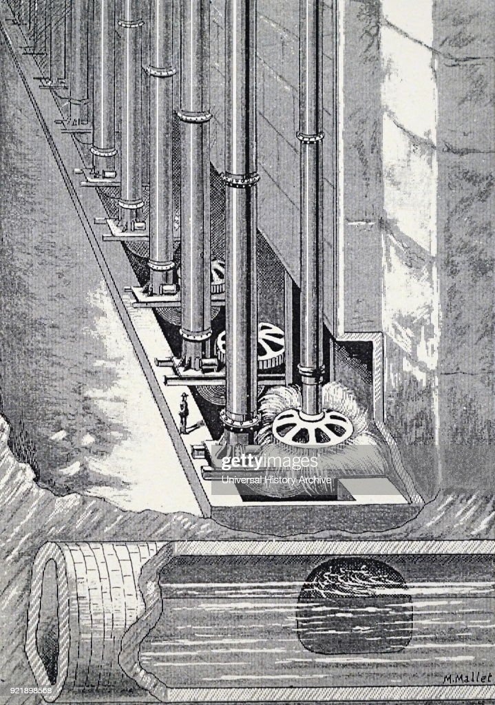 Engraving depicting the turbines of the Niagara Falls hydroelectric power station. Dated 19th century.