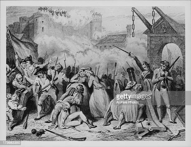 Engraving depicting the uprising of the French common people prior to the French Revolution with the storming of the Bastille and the subsequent...