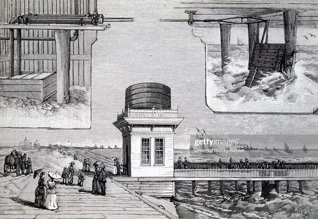 Engraving depicting the use of tidal power being used to raise sea water into a water tower from where t was drawn off into tankers (left) for sprinkling on the roads. Dated 19th century.