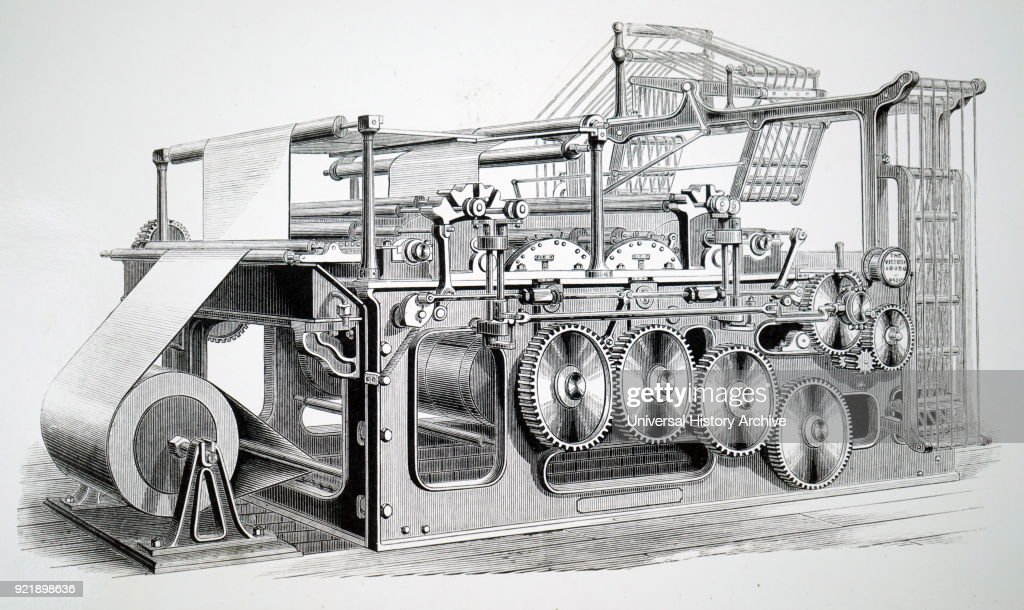 Engraving depicting the Victory web rotary press, built by Duncan & Wilson of Liverpool for the 'Glasgow Star' (1870) This was the first machine which printed, cut the roll of paper, and then folded the sheets ready for dispatch. Dated 19th century.