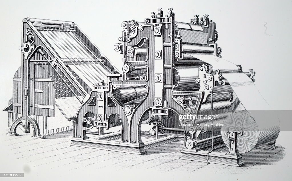 Engraving depicting the Walter rotary press, installed for printing The Times in 1866. Two such machines, each producing 11,000 copies per hour, could be operated by an overseer and six unskilled men. Dated 19th century.