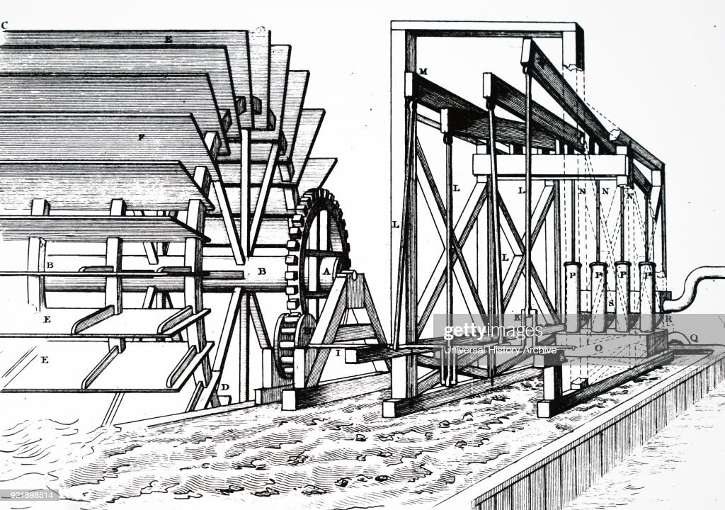 Engraving depicting the water wheel and pumps at London Bridge. In this picture a water wheel driven by the tide works four force pumps (P) through spur wheel with iron cogs working on a trundle, (H), and cranks, (K). Dated 19th century.