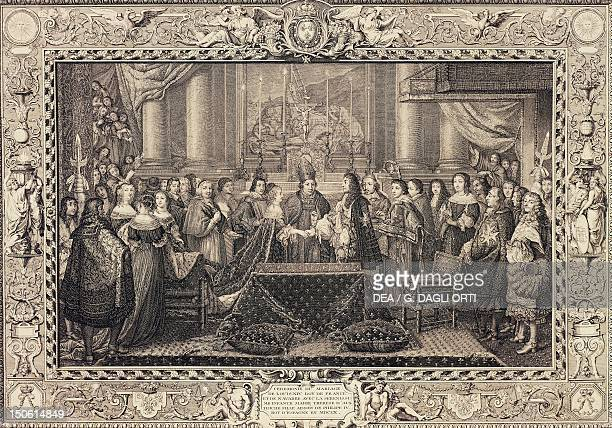 Engraving depicting the wedding of Louis XIV of Bourbon and Maria Theresa of Habsburg Infanta of Spain June 9 1660 France 17th century