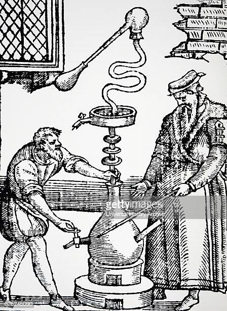Engraving depicting two alchemists distilling an Elixir during the Elizabethan Period Dated 16th Century