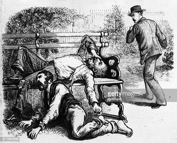 Engraving depicting two tramps dying in Jackson Square New Orleans From a series of images entitled 'THE GREAT YELLOW FEVER SCOURGE INCIDENTS OF ITS...
