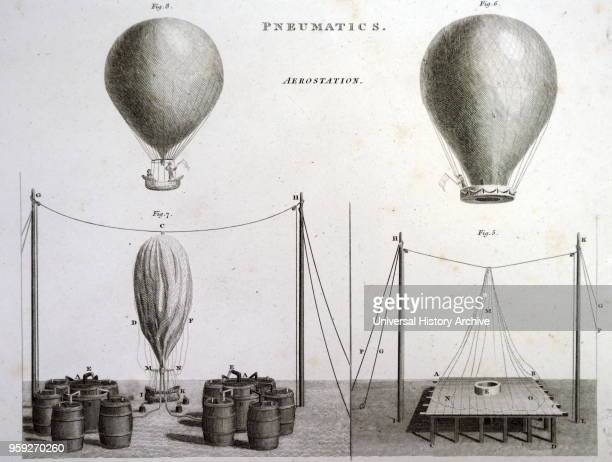 Engraving depicting two types of hot-air balloons. Left: Hydrogen Balloon, the bottom quarter of the picture shows the method of filling the balloon...