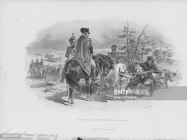Engraving depicting United States Secretary of War Henry Knox arriving on horseback with artillery, circa 1785-1795. Engraved by J Halpin from the...