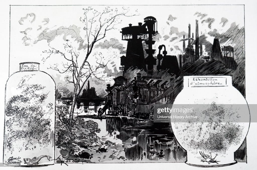 Engraving depicting what environmental pollution during the 1950s would look like if 'progress' continued. Dated 19th century.