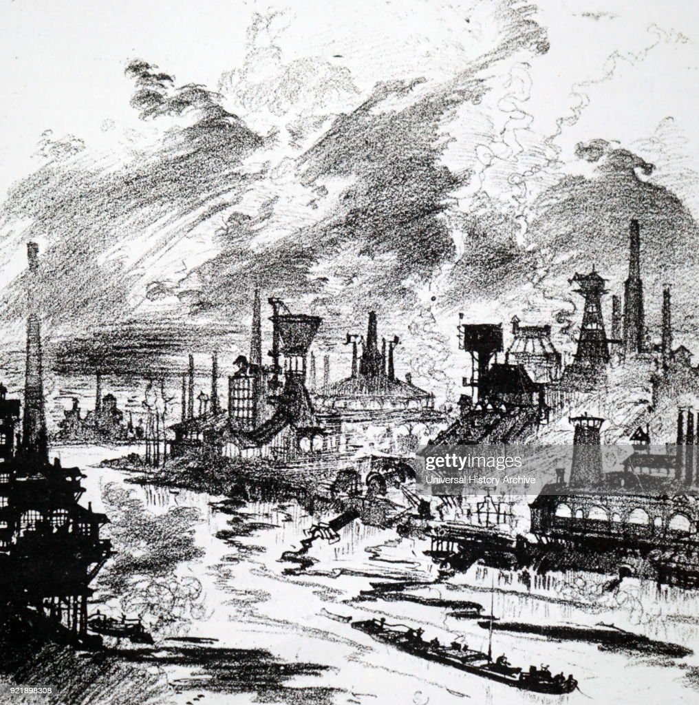 Engraving depicting what environmental pollution during the 1950s would look like if the chemical industry continued to 'progress'. Dated 19th century.