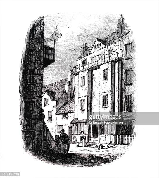 Engraving depicting William Caxton's printing office William Caxton an English merchant diplomat writer and printer Dated 19th century