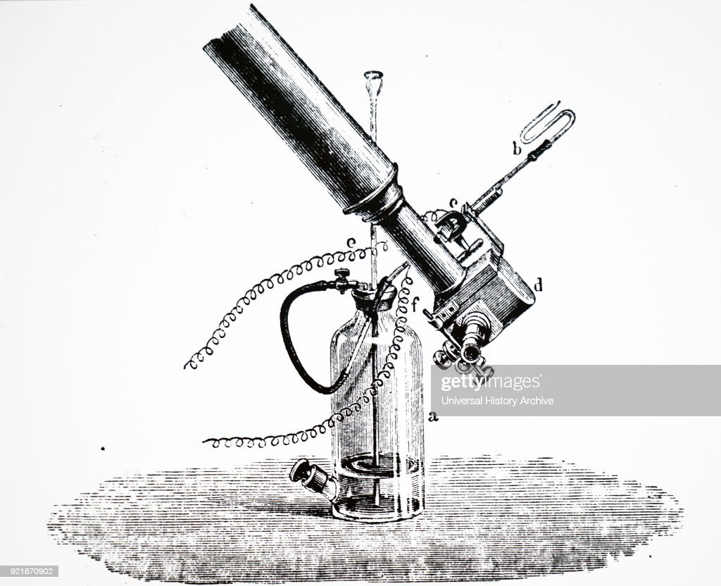 Engraving depicting William Huggins' apparatus for producing comparison spectra of hydrocarbons. This is the equipment used when studying Winnecke's comet. William Huggins (1824-1910) an English astronomer best known for his pioneering work in astronomical spectroscopy together with his wife Margaret Lindsay Huggins. Dated 19th century.