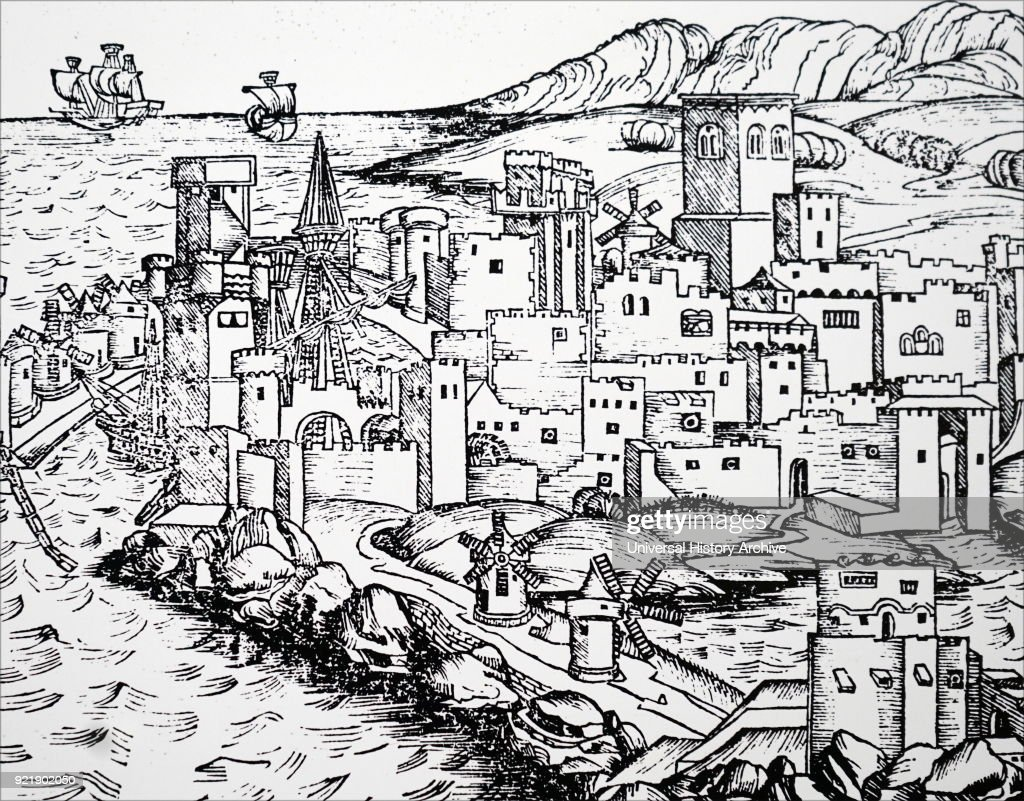 Engraving depicting windmills used for producing flour, and ships in the shelter of the harbour, in Rhodes, Greece. Dated 15th century.