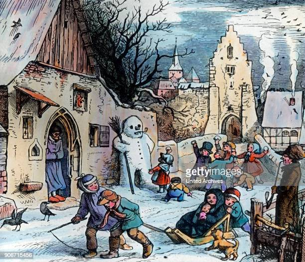 Engraving depicting winter time Germany 1920s