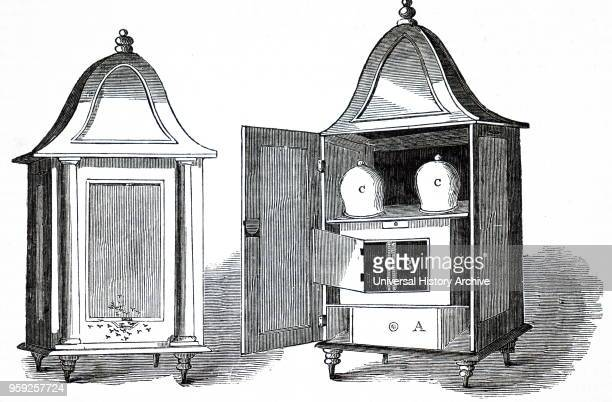 Engraving depicting WJ Pettit's Temple Beehive both closed and open A Feeding drawer B Parent Hive C Glass hives to be added when B is nearly full of...