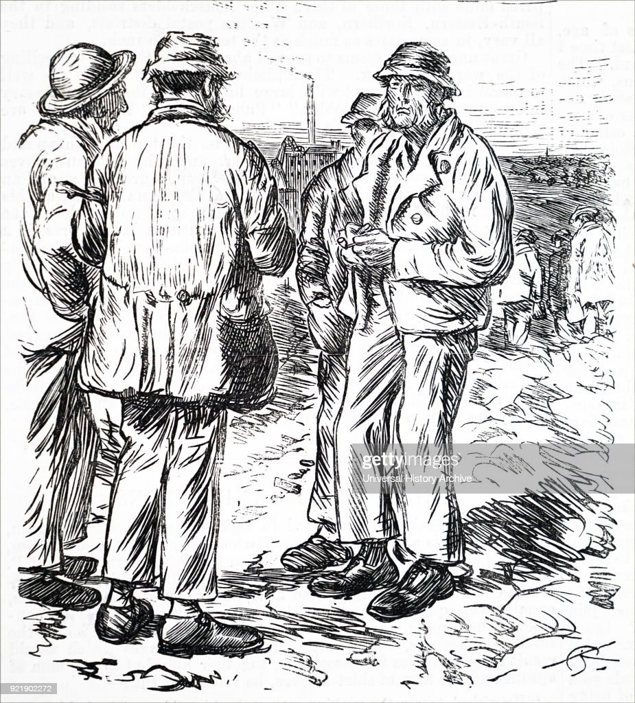 Engraving depicting workmen chatting together after their shift. Dated 19th century.