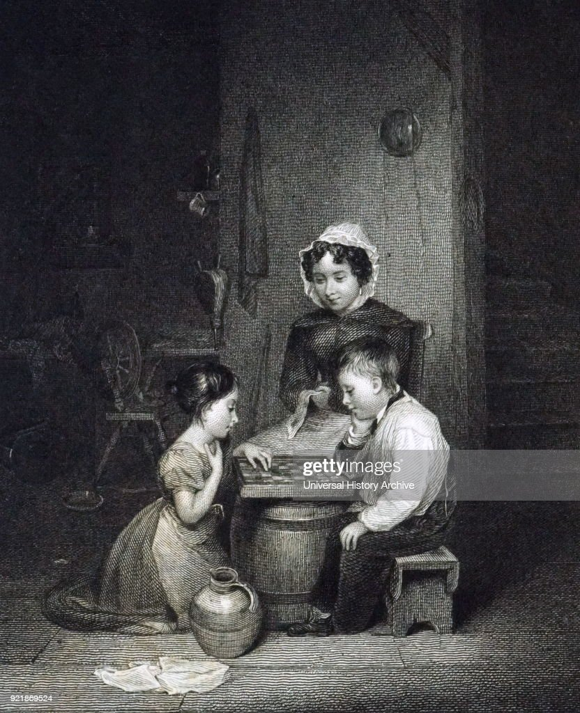 Engraving depicting young children playing draughts. Dated 19th century.
