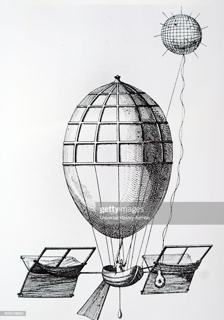 Yves Guyot's plan for an ovoid balloon fitted with a sail. : News Photo
