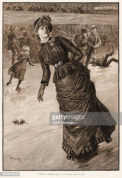 Engraving depicts 'A Belle on Rollers' as she roller skates on an indoor rink 1885