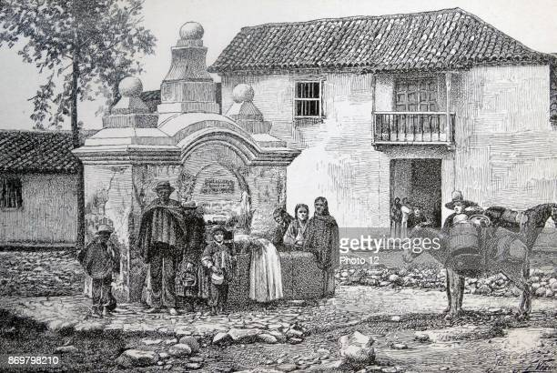 Engraving depicts a courtyard in Bogota, the capital of Colombia and Cundinamarca Department. Dated 19th Century.