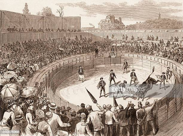 Engraving depicts a large crowd gathered in a wooden amphitheatre to watch a 'Sham BullFight' New York New York 1880