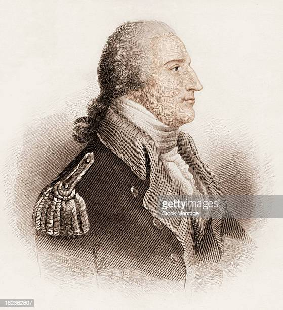 Engraving depicts a portrait of American army officer Benedict Arnold mid to late 18th century During the American Revolutionary War Arnold secretly...