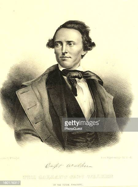 Engraving depicts a portrait of Texas Ranger Captain Samuel Walker 1840s