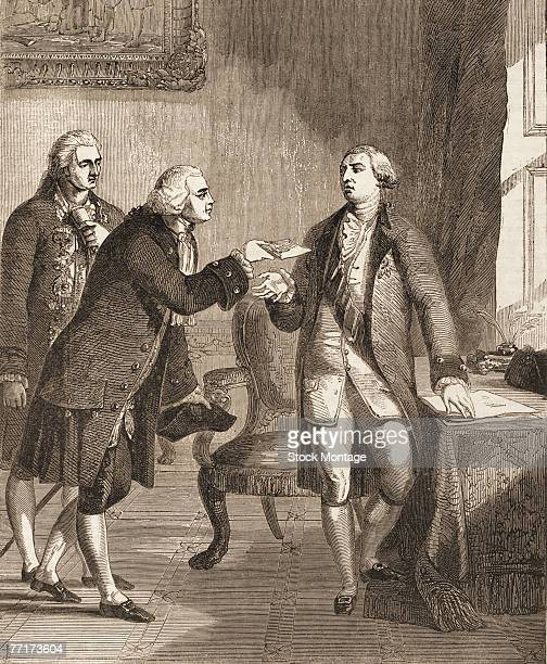 Engraving depicts American diplomat politician and future President John Adams as he greets King George III of England as the first US minister to...