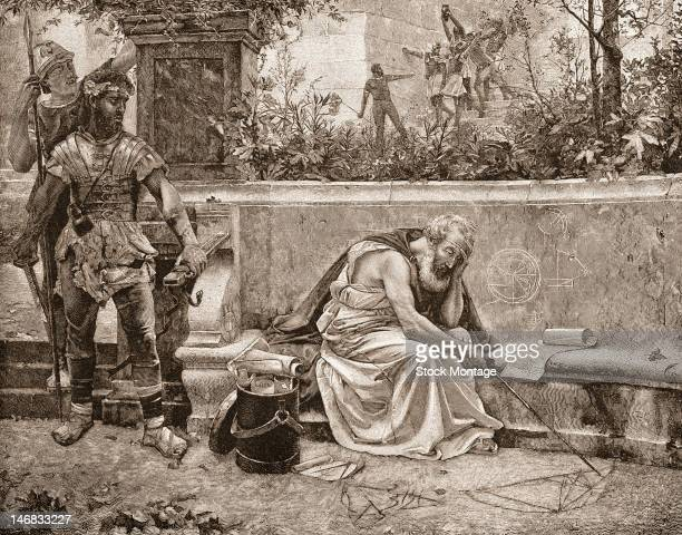 Engraving depicts an artist's conception of the last moments of Greek mathematician and inventor Archimedes as he ponders a mathematical diagram just...