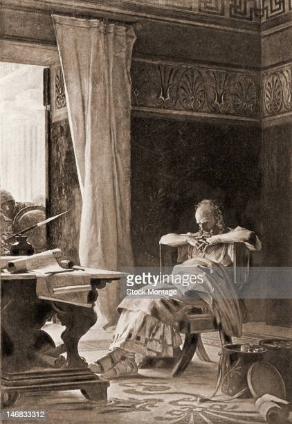 Engraving depicts an artist's conception of the last moments of Greek mathematician and inventor Archimedes as he sits in a chair just before his...