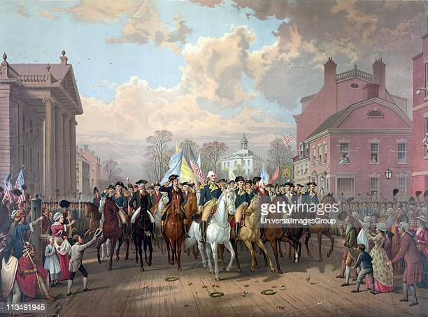 Revolutionary War 17751783 George Washington riding in triumph through streets of Boston after 11month siege ended with the withdrawal of British...