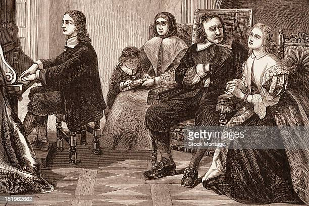Engraving depicts British poet and politician John Milton as he plays organ for British military and political leader Oliver Cromwell and his family...