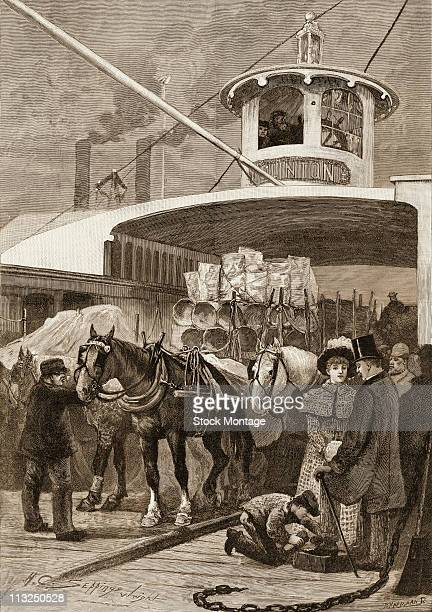 Engraving depicts passengers and horsedrawn wagons of goods on the deck of a ferry New York New York late ninteenth century