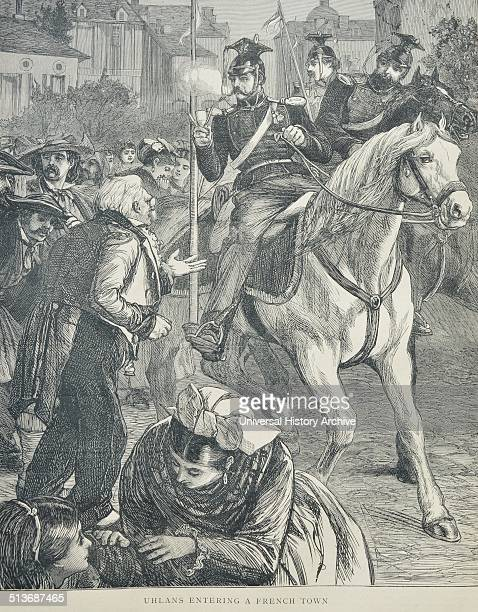 Engraving depicts the arrival of Uhlans into a French town. Uhlans were Polish light cavalry armed with lances, sabres and pistols. The title was...