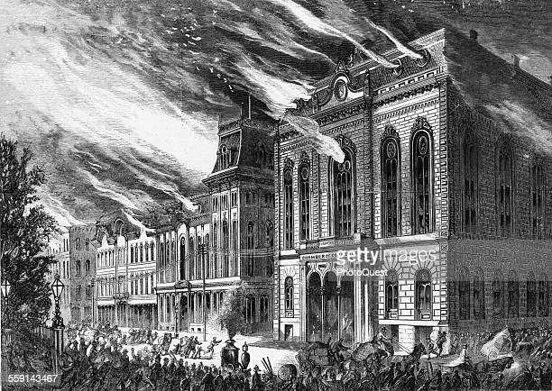 Engraving depicts the Chamber of Commerce in flames during the Great Fire, Chicago, Illinois, 1871.