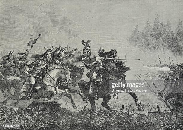 Engraving depicts the charge of French Cuirassiers a mounted cavalry soldiers equipped with armour and firearms first appearing in late 15thcentury...
