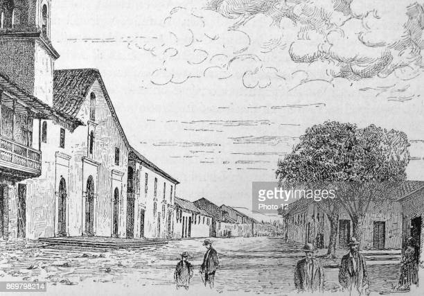 Engraving depicts the Parish Church and old cass of the Viceroys in Bogota Dated 18th Century