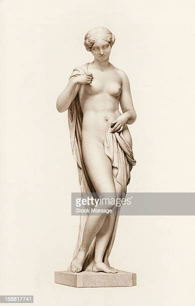 Engraving depicts the statue 'Daydream' a nude woman with a cloth loosely draped about her body mid to late 19th century The original work was by...