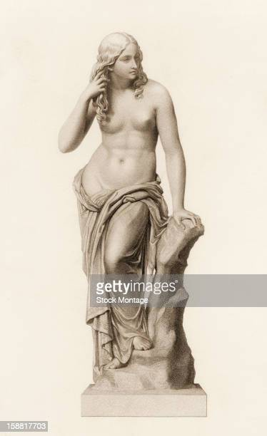 Engraving depicts the statue 'Egeria' a topless woman who holds her hair as she leans against a rock mid to late 19th century The original work was...