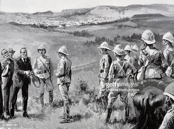 Engraving depicts the surrender of Bloemfontein on May 12th 1901 Field Marshal Frederick Sleigh Roberts entered Kroonstad as the Guards' brigade and...
