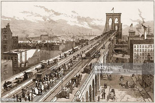 Engraving depicts traffic from both vehicles and pedestrians on the Brooklyn Bridge soon after it opened New York New York mid 1883 Designed by...