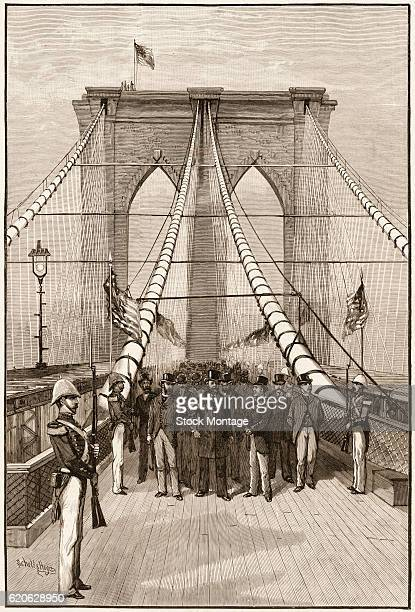 Engraving depicts US President Chester A Arthur and others at the dedicaton and opening of the Brooklyn Bridge New York New York May 24 1883 Designed...