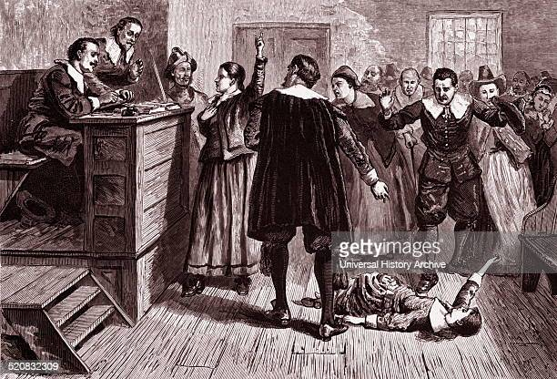 Engraving depicts witchcraft trial Mary Walcott is shown here as a witness Dated 1876