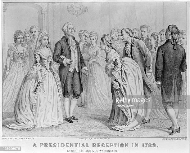 Engraving entitled 'A Presidential Reception in 1789' depicts American President George Washington and his wife First Lady Martha Washington greet...