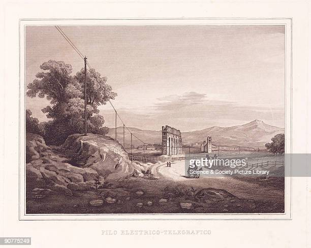 Engraving entitled �Filo Elettrico Telegrafico� showing telegraph poles along the Appian Way outside Rome