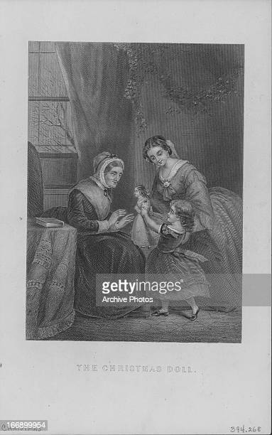 Engraving entitled 'The christening doll' showing a little girl being presented with a christening doll by her mother and grandmother