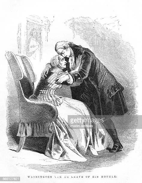 Engraving entitled 'Washington Taking Leave of His Mother' depicts George Washington as he says goodbye to his mother Mary Ball Washington after his...