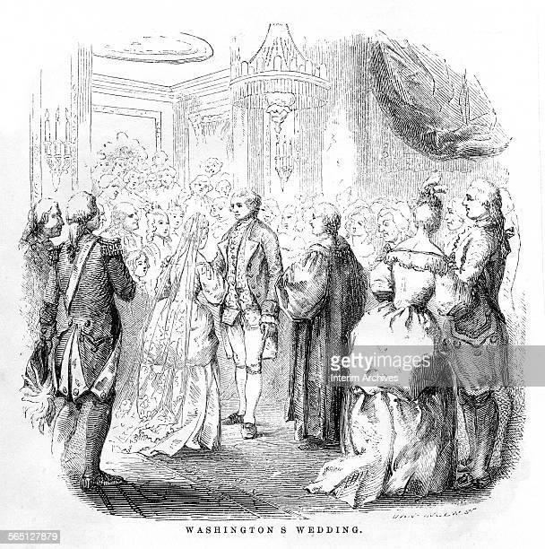 Engraving entitled 'Washington's Wedding' depicts the marriage ceremony of George Washington and Martha Dandridge Custis at the White House...