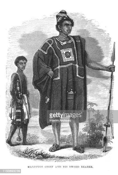 Engraving features a portrait of an unidentified Mandingo chief and his sword bearer 1854 Originally published in Mayer's book 'Captain Canot or...