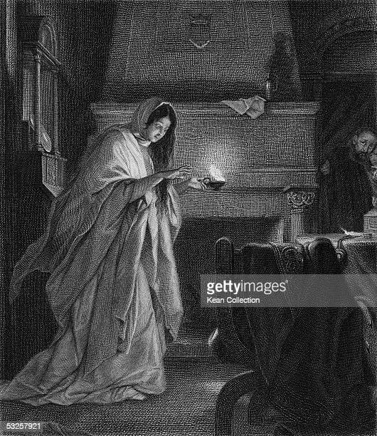 Engraving from Act V Scene I of William Shakespeare's 'Macbeth' of Lady Macbeth as she holds a lantern and sleepwalks with her eyes open through a...