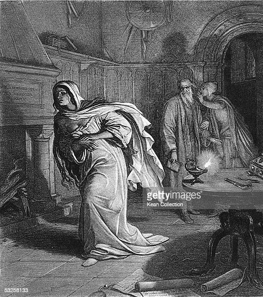 Engraving from Act V Scene I of William Shakespeare's 'Macbeth' of Lady Macbeth as she wears a nightgown and sleepwalks through a darkened room mid...